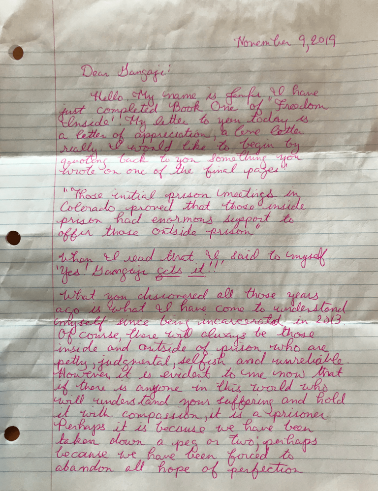 Letter from J, page 1