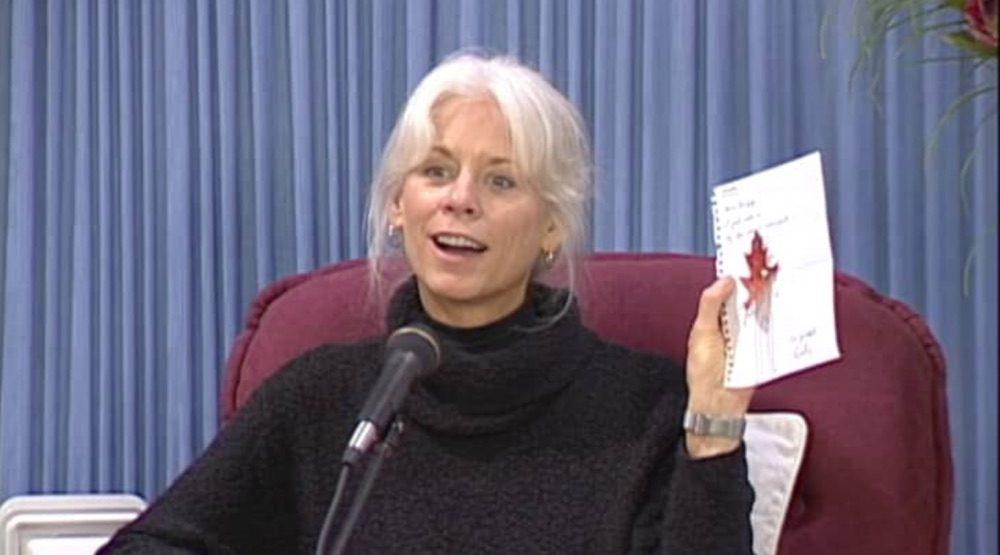 Avoidance of Hurt - Gangaji Smiling Holding Letter April 25, 1999 ~ Marysville, Australia