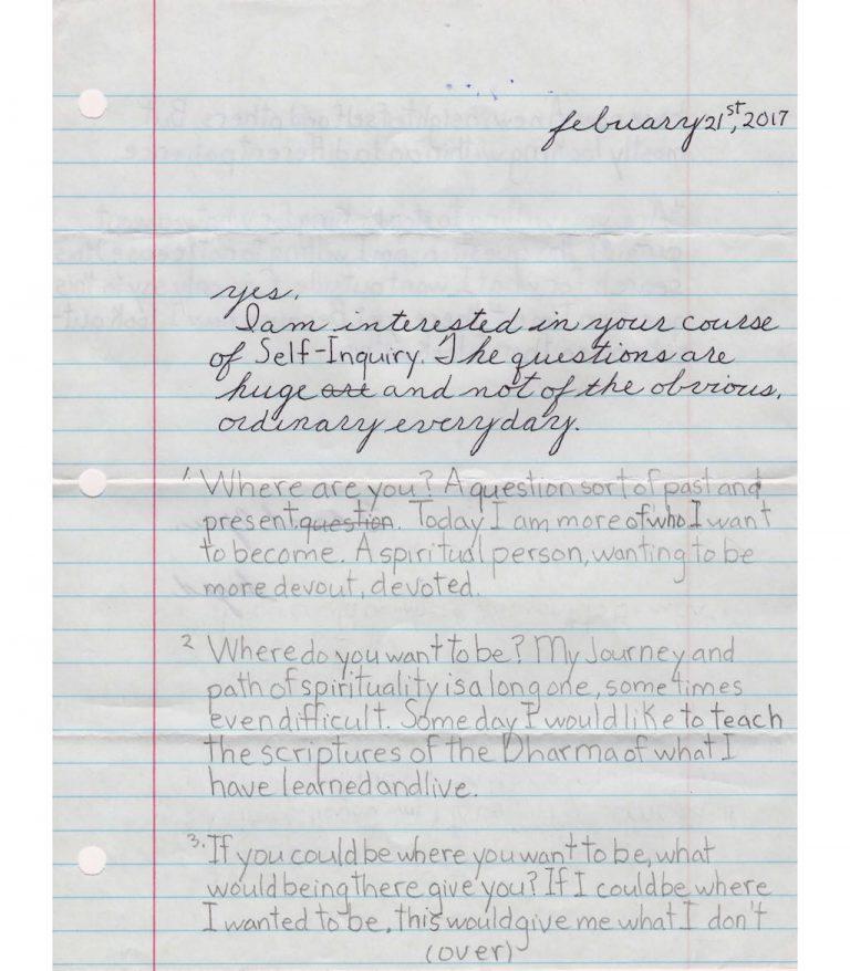 Prisoner letter enrolling if course