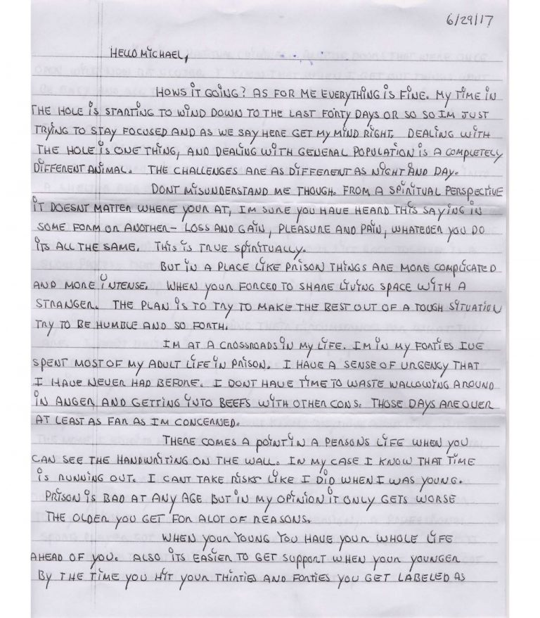 Prisoner Letter to Michael