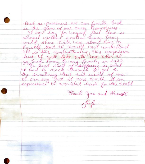 Letter from prisoner Jennifer, page 2