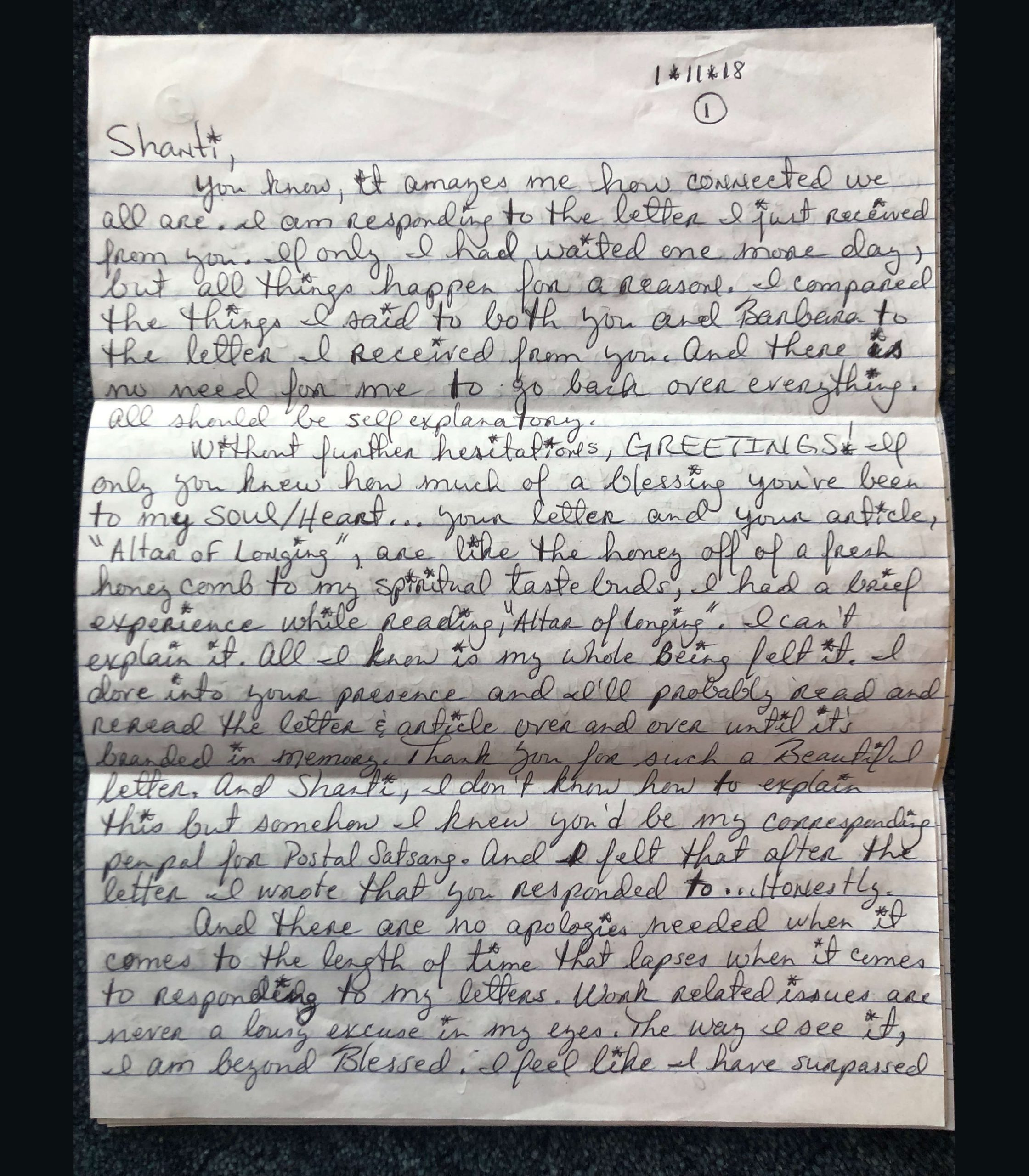 Prisoner Letter to Shanti