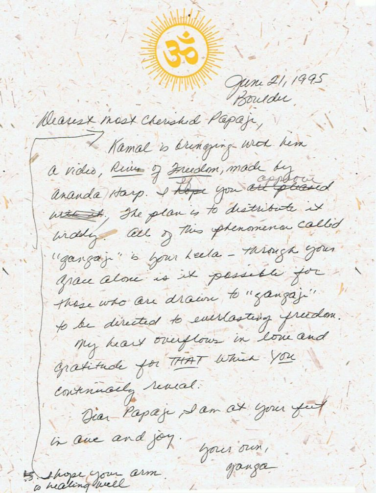 Letter to Papaji from Gangaji about River of Freedom