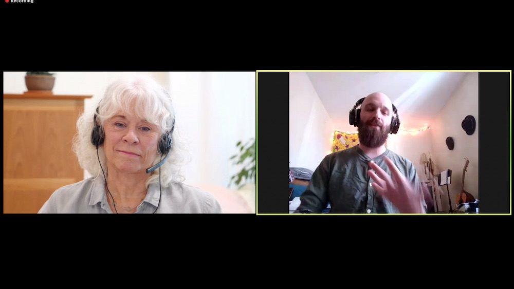 Split screen zoom view - gangaji and man with beard.