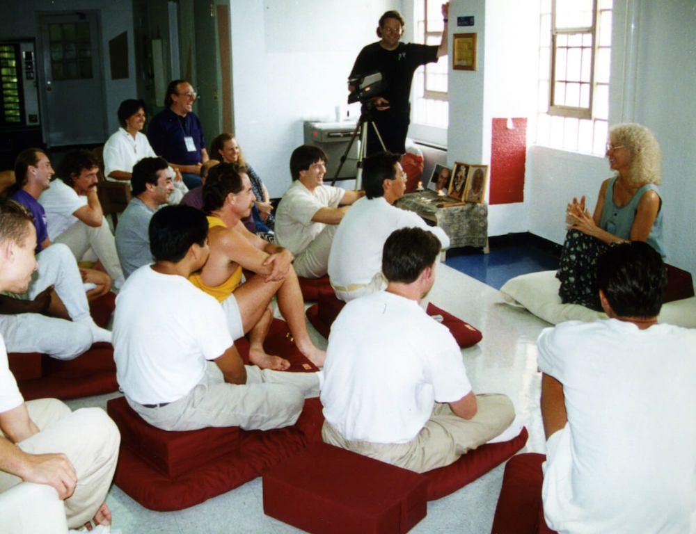 Gangaji holding satsang in a prison