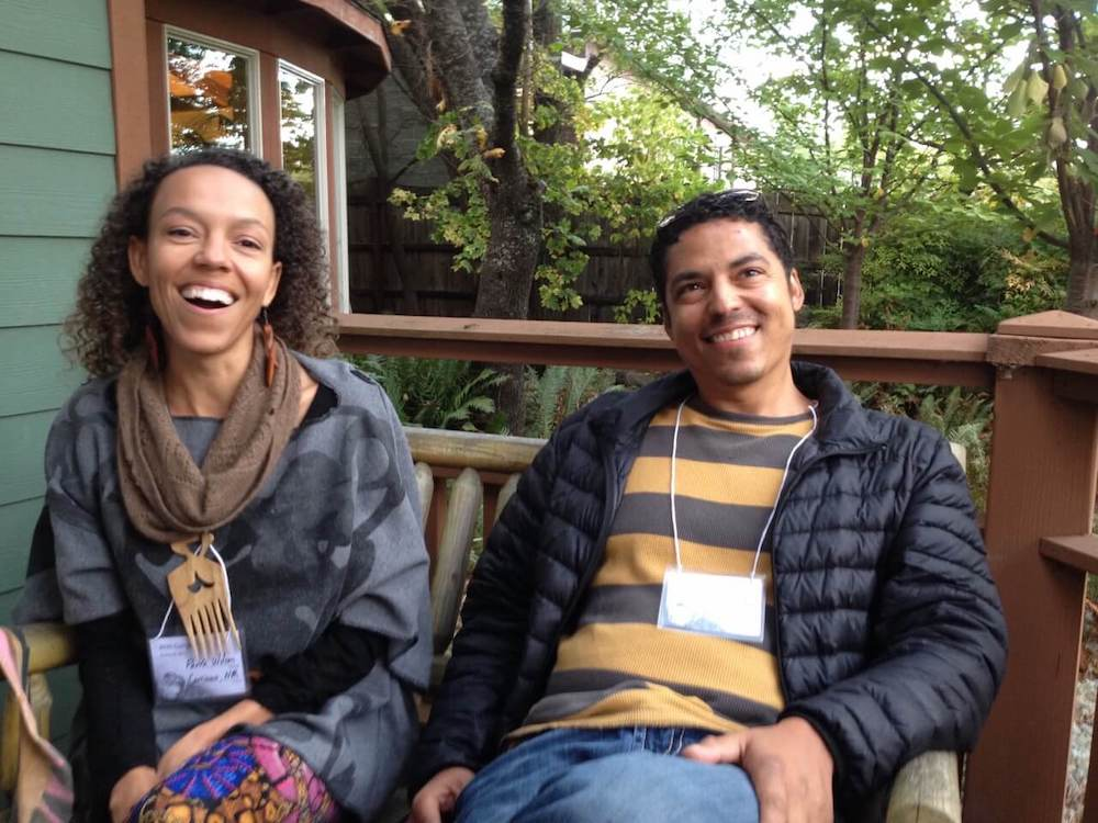 Two people happy at retreat in nature